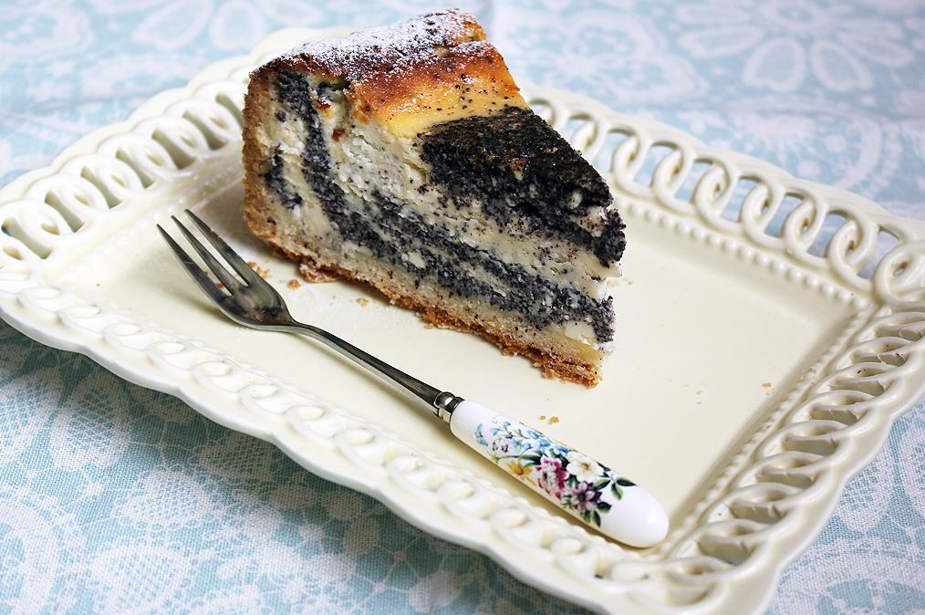 Túrós - mákos csíkos torta